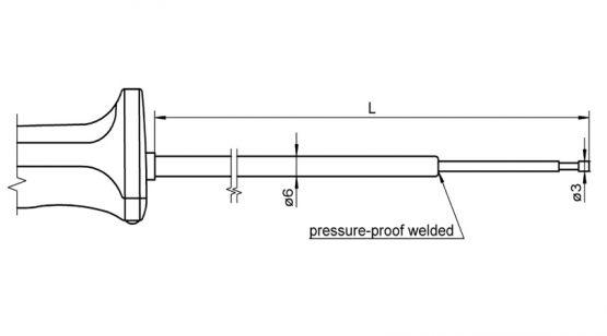 FTA150LxxxxH NiCr-Ni sensor with handle fot surface measurement and immersion measurement