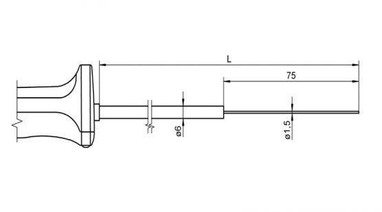 FTA125L0300H FTA125L0500H NiCr-Ni temperature sensor with handle for immersion measurement