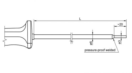 FTA1261L0150H FTA1261L0300H NiCr-Ni temperature sensor for immersion measurement in plastic and pasty substances