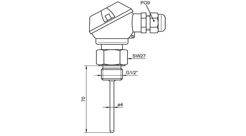 Ahlborn Pt100 Install Sensor with Connecting Head FP0463